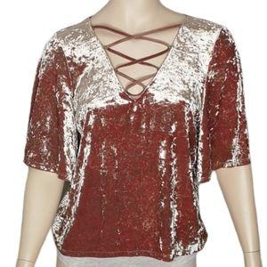 American Eagle Pink Crushed Velvet Lace Up V-neck